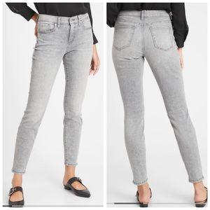 NYDJ Gray Acid Wash Skinny Ankle Jeans